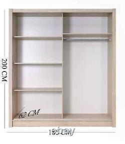 185cm German Sliding Door Wardrobe in Oak Black White 2x Mirrored Doors not IKEA