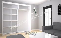 200cm W, 5 Colours WARDROBE Sliding Door MIRROR / LACOBEL GLASS bedroom cupboard