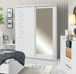 2 Door Mirrored Sliding Wardrobe 150CM. WHITE/MIRROR. TK1-150. TOKYO. BRAND NEW