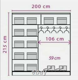 2 Door Mirrored Sliding Wardrobe. OAK SONOMA. EF2-200. EFFECT. BRAND NEW