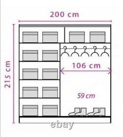 2 Door Sliding Mirrored Wardrobe. WHITE/ANDERSEN EF1-200. EFFECT. BRAND NEW