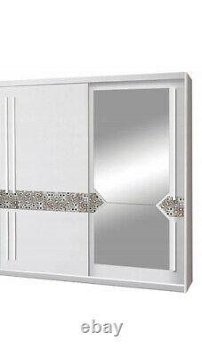2 Sliding Door Wardrobe-White/Printed Glass/Mirror -150cm. AT1-15. ATENA. NEW