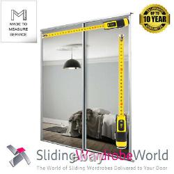 2 x'Made to Measure' Sliding Wardrobe Doors White Framed Mirror up to 2400mm