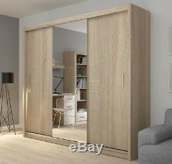 3 Door Sliding Mirrored Wardrobe 235cm wide Mirror doors White Light & Dark Wood