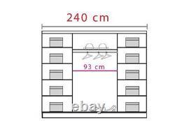 3 Door Sliding Wardrobe -Oak Sonoma/PVC Cappuccino Gloss/Mirror. DOME/DO4-24. NEW