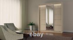 3 Sliding Doors Modern Mirrored Wardrobe Bedroom Furniture MRMA 180 cm