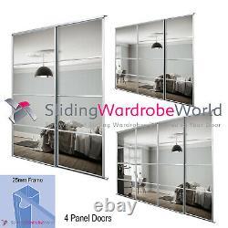4 Panel Silver Frame & Mirror Sliding Wardrobe Door Kits & Tracks (All sizes)