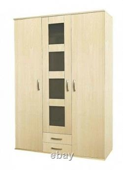 Alpha High Gloss Wardrobe 2 or 3 Door Mirrored or Sliding Bedroom Furniture
