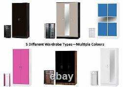 Alpha High Gloss Wardrobe 2 or 3 Door Mirrored or Sliding Bedroom Furniture