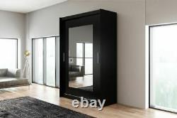 Ava 12.2- Sliding Doors Wardrobe With Mirror, Modern, Elegant, Black