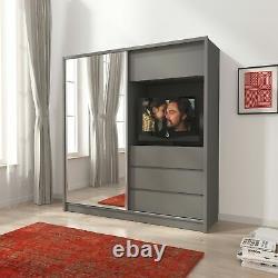 BMF'TV200' Wardrobe 200CM Wide Sliding Mirrored Door Drawers TV Space GREY