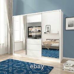 BMF'TV25' Modern Wardrobe 250CM Wide Sliding Mirrored Door Drawers TV Space