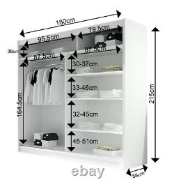BRAVA 2- NEW WARDROBE WITH SLIDING DOORS with MIRRORS, WHITE, FAST DELIVERY