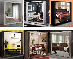 Bedroom Furniture Chicago Double Sliding Door Wardrobe SIX COLORS with LED Light