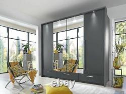 Bedroom set graphite grey matt large MONA 256cm wardrobe chest and 2 bedsides