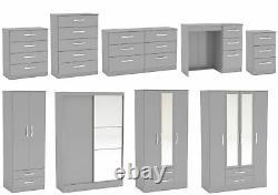 Birlea Lynx Grey Gloss Bedroom Furniture Wardrobe Chest Bedside Desk
