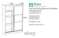 Birlea Lynx High Gloss 2 Door Sliding Mirrored Wardrobe Grey & White