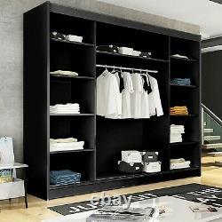 Black Wardrobe Sliding Door Big Bedroom Rail Mirror Large Closet 250cm 8.20ft