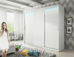 Brand NEW Big Wardrobe Sliding Door Shelves Bedroom LED Light Large Closet 250cm