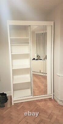 Brand New 2 Doors Mirrored Sliding wardrobes In White Mainland UK 90cm width