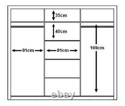 Brand New Modern Bedroom 3 Sliding Door Mirror Wardrobe ARTI 2 250cm Black Matt