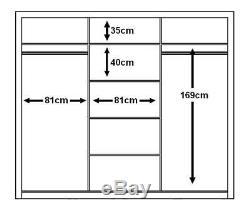 Brand New Modern Bedroom 3 Sliding Door Mirror Wardrobe ARTI 2 250cm White Matt