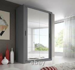 Brand New Modern Bedroom Mirror Sliding Door Wardrobe ARTI 19 120cm Grey Matt