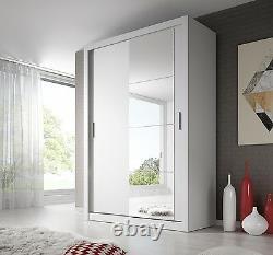Brand New Modern Bedroom Mirror Sliding Door Wardrobe ARTI 4 150cm in White Matt
