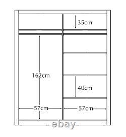 Brand New Modern Bedroom Mirror Sliding Door Wardrobe ARTI 6 120cm in Grey Matt