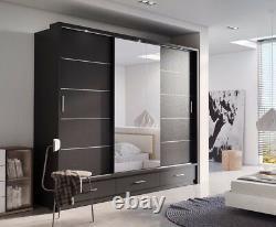 Brand New Modern Bedroom Sliding Door Wardrobe ARTI 1 250cm in Matt Black Mirror