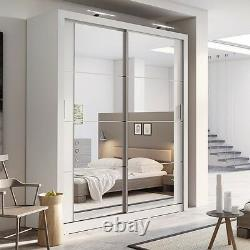 Brand New Modern Bedroom Sliding Door Wardrobe Arti 3 181cm in Matt White Mirror