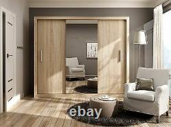 Brand New Modern Wardrobe Sliding Door with Mirror IDEA 01 in Sonoma 250cm