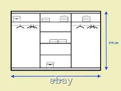 Brand New Modern Wardrobe Sliding Door with Mirror IDEA 01 in White Matt 250cm