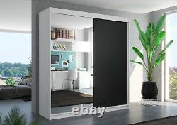 Brand new wardrobe DELLA 200cm large mirror 2 sliding doors perfect interior