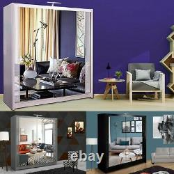 Double Mirror Modern Sliding Door Wardrobe CHICAGO 3 COLORS 5 SIZES LED Optional