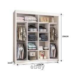 Double Mirror Sliding Doors Wardrobe Vision (Grey) 150cm/180cm/203cm