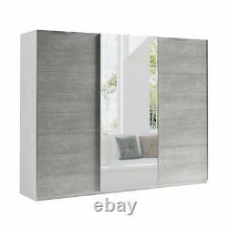 Extra Large Modern Wardrobe MONA 270 CM Sliding Doors Mirror FAST DELIVERY