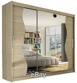 Extra Large Wardrobe Sliding Shelves Bedroom Door Mirror Rail Closet 250 cm NEW