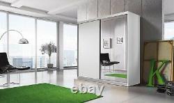 Free Next Day Delivery Modern Design 2 Door Mirrored Sliding Wardrobe (183cm)