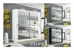 Full Double Mirror Sliding Door Wardrobe Bedroom Cabinet
