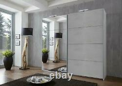 German Ernie White Concrete Grey Industrial 2 Door Mirror 225cm Sliding Wardrobe