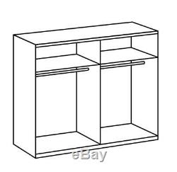 German Malmo Silver Oak Grey Industrial 2 Door Mirror 225cm Sliding Wardrobe