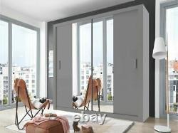 Grey matt sliding door wardrobe CLEO 3 large 180cm with mirror
