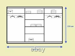 Grey matt wardrobe CLEO 1 250cm 3 sliding doors with mirrors