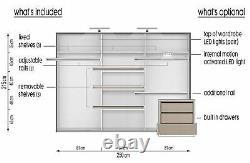 Grey matt wardrobe CLEO 2 250cm 3 sliding doors with mirrors