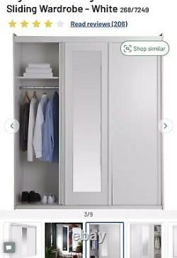 Hallingford 3 door Sliding Wardrobe White With Mirror