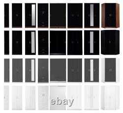 High Gloss 1 2 3 Door Wardrobe Corner Sliding Mirrored Black Walnut White Grey