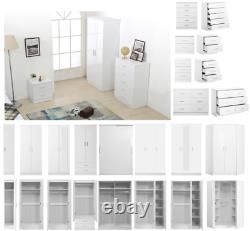 High Gloss Bedroom Furniture Set Wardrobe Chest Bedside Dressing Table White