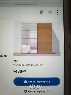 Huge IKEA PAX WARDROBE with mirror and oak effect sliding doors rrp £480