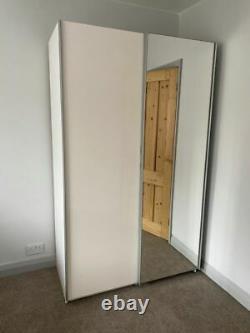 Hygena Bergen 2 Door Small Sliding Wardrobe Gloss White & Mirror
